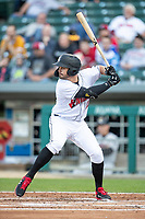 Kevin Kramer (17) of the Indianapolis Indians at bat at Victory Field on May 14, 2019 in Indianapolis, Indiana. The Indians defeated the RailRiders 4-2. (Andrew Woolley/Four Seam Images)