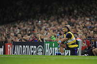 Ma'a Nonu is the water carrier having sustained a shoulder injury and therefore unable to play during Match 23 of the Rugby World Cup 2015 between New Zealand and Georgia - 02/10/2015 - Millennium Stadium, Cardiff<br /> Mandatory Credit: Rob Munro/Stewart Communications