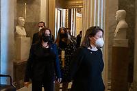 United States Vice President Kamala Harris departs the Senate chamber following a vote at the U.S. Capitol in Washington, DC, Thursday, March 4, 2021. Credit: Rod Lamkey / CNP/AdMedia