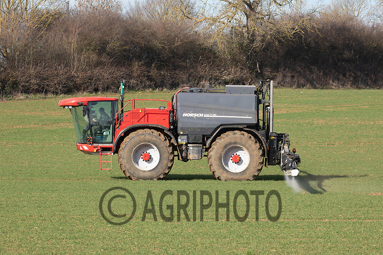 Spraying herbicide on Winter wheat<br /> ©Tim Scrivener Photographer 07850 303986<br />      ....Covering Agriculture In The UK....