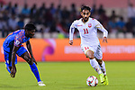 Ali Jaafar Madan of Bahrain (R) is followed by Sunil Chhetri of India (L) during the AFC Asian Cup UAE 2019 Group A match between India (IND) and Bahrain (BHR) at Sharjah Stadium on 14 January 2019 in Sharjah, United Arab Emirates. Photo by Marcio Rodrigo Machado / Power Sport Images
