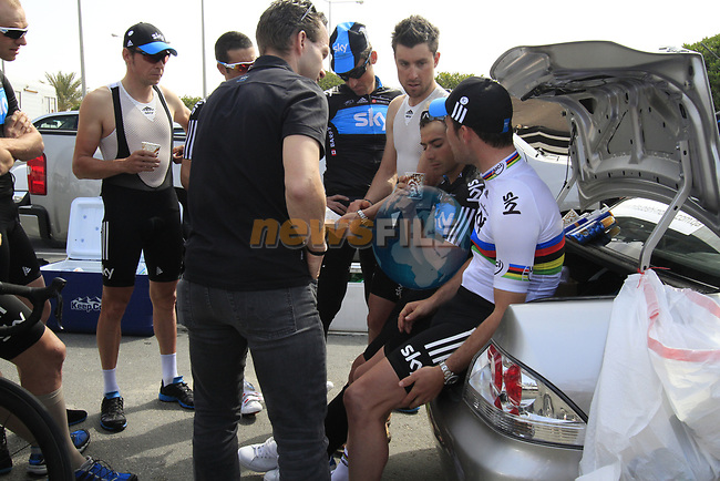Sky Procycling team talk tactics before the start of the 3rd Stage of the 2012 Tour of Qatar running 146.5km from Dukhan Souq, Dukhan to Al Gharafa, Qatar. 7th February 2012.<br /> (Photo Eoin Clarke/Newsfile)