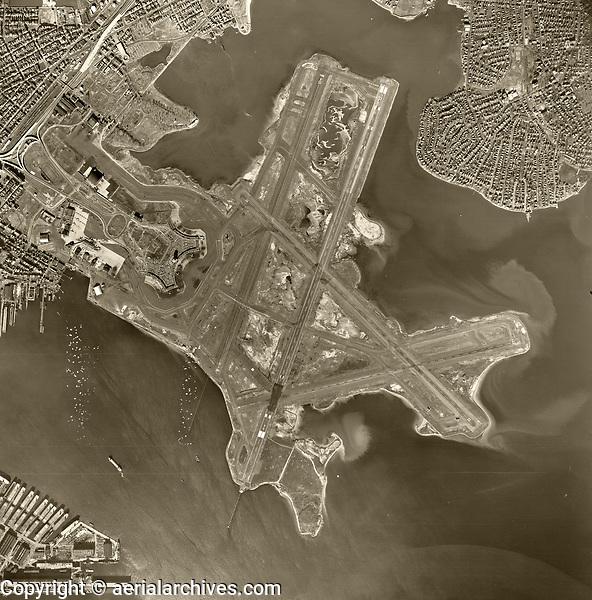 historical aerial photograph Logan International Airport, Boston, Massachusetts, 1955