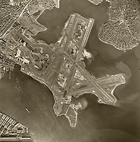 historical aerial photograph Logan International Airport, Boston, Massachusetts, 1955