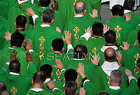 Priests ; Bishop; Bishops;Pope Francis celebrate a mass as part of the Marian Day,prays in front of the statue of Our Lady of Fatima in Saint Peter's square at the Vatican on October 13, 2013,