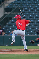 AZL Angels designated hitter Drevian Williams-Nelson (2) at bat during an Arizona League game against the AZL Indians 2 at Tempe Diablo Stadium on June 30, 2018 in Tempe, Arizona. The AZL Indians 2 defeated the AZL Angels by a score of 13-8. (Zachary Lucy/Four Seam Images)