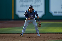 West Michigan Whitecaps third baseman Nick Quintana (10) on defense against the Fort Wayne TinCaps at Parkview Field on August 5, 2019 in Fort Wayne, Indiana. The TinCaps defeated the Whitecaps 9-3. (Brian Westerholt/Four Seam Images)