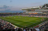 A sell out crowd watches Germany battle the U.S. Women.  The U.S. Women's National Team tied Germany 1-1 in a friendly at Toyota Park in Bridgeview, IL on October 20, 2012.