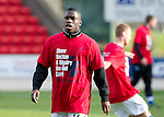 St Johnstone v Kilmarnock....20.10.12      SPL.Show Racism the Red Card day at McDiarmid Park, Nigel Hasselbaink wearing a t-shirt.Picture by Graeme Hart..Copyright Perthshire Picture Agency.Tel: 01738 623350  Mobile: 07990 594431