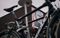 Eddy Merckx present at the start in Düsseldorf via the iconic picture of master photographer Stephan Vanfleteren<br /> <br /> 104th Tour de France 2017<br /> Stage 2 - Düsseldorf › Liège (203.5km)
