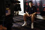 Houston Rocket Yao Ming talks to the media at the Toyota Center Friday June 16,2006.