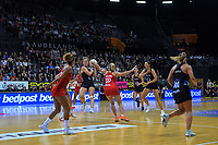 NZ's Claire Kersten takes a pass during the Cadbury Netball Series Taini Jamison Trophy match between New Zealand Silver Ferns and England Roses at Claudelands Arena in Hamilton, New Zealand on Wednesday, 28 October 2020. Photo: Dave Lintott / lintottphoto.co.nz
