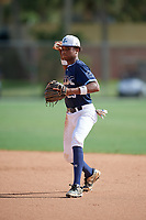 Jordan McCants (23) during the WWBA World Championship at the Roger Dean Complex on October 13, 2019 in Jupiter, Florida.  Jordan McCants attends Catholic High School in Cantonment, FL and is committed to Mississippi State.  (Mike Janes/Four Seam Images)