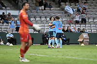 8th February 2021; Jubilee Stadium, Sydney, New South Wales, Australia; A League Football, Sydney Football Club versus Wellington Phoenix; Kosta Barbarouses of Sydney celebrates his goal with teammates to make it 1-0 in the 32nd minute