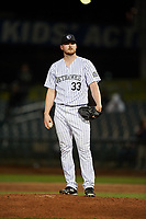 Lancaster JetHawks relief pitcher Bryan Baker (33) during a California League game against the Visalia Rawhide at The Hangar on May 17, 2018 in Lancaster, California. Lancaster defeated Visalia 11-9. (Zachary Lucy/Four Seam Images)