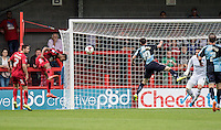 Roarie Deacon of Crawley Town has a great chance to score but heads tamely at Goalkeeper Matt Ingram of Wycombe Wanderers during the Sky Bet League 2 match between Crawley Town and Wycombe Wanderers at Checkatrade.com Stadium, Crawley, England on 29 August 2015. Photo by Liam McAvoy.
