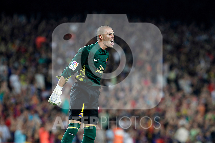 FC Barcelona's Victor Valdes celebrate goal during Spanish Supercup 2nd match.August 17,2011. (ALTERPHOTOS/Acero)