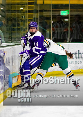 2 February 2020: Holy CrossCrusader Defender Allison Attea, a Junior from Buffalo, NY, in second period action against the University of Vermont Catamounts at Gutterson Fieldhouse in Burlington, Vermont. The Lady Cats rallied in the 3rd period to tie the Crusaders 2-2 in NCAA Women's Hockey East play. Mandatory Credit: Ed Wolfstein Photo *** RAW (NEF) Image File Available ***