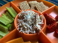 Seafood salad makes a great appetizer at a fish fry or any gathering. It's tasty and easy to make with only six ingredients.<br />(NWA Democrat-Gazette/Flip Putthoff)