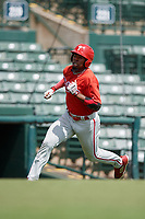 Philadelphia Phillies Logan Simmons (21) runs home during a Florida Instructional League game against the Baltimore Orioles on October 4, 2018 at Ed Smith Stadium in Sarasota, Florida.  (Mike Janes/Four Seam Images)