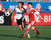25 May 09:  USA National midfielder Angela Hucles #16 and Canadian National midfielder Diana Matheson #8 in action in an International Friendly soccer game between the US Women's Team and the Canadian Women's Team at BMO Field in Toronto..The US Women's Team won 4-0..