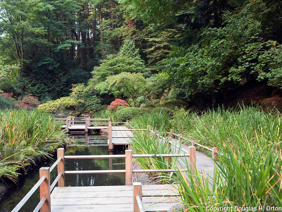 Bridge over pond.  The Zig Zag Bridge at Portland, Oregon, Japanese Garden.  The Japanese Garden in Portland is a 5.5 acre respit.  Said to be one of the most authentic Japanese Garden's outside of Japan, the rolling terrain and water features symbolize both peace and strength.