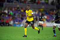 ORLANDO, FL - JULY 20: Damion Lowe #17 of Jamaica running during a game between Costa Rica and Jamaica at Exploria Stadium on July 20, 2021 in Orlando, Florida.