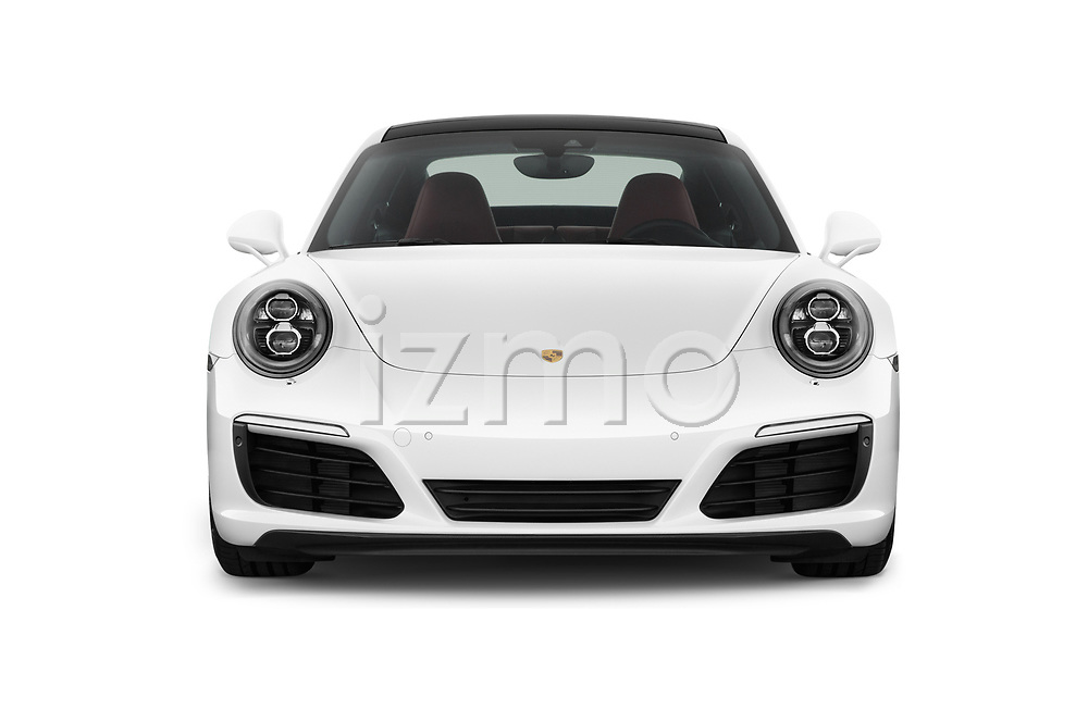 Car photography straight front view of a 2018 Porsche 911 Carrera S 2 Door Coupe