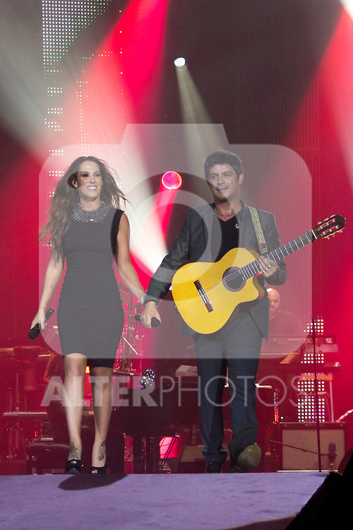 02.06.2012. Alejandro Sanz  and Malu performs during in the ´Cadena 100´ 20 th anniversary Concert at the stadium Vicente Calderon in Madrid. In the image: Alejandro Sanz and Malu  (Alterphotos/Marta Gonzalez)