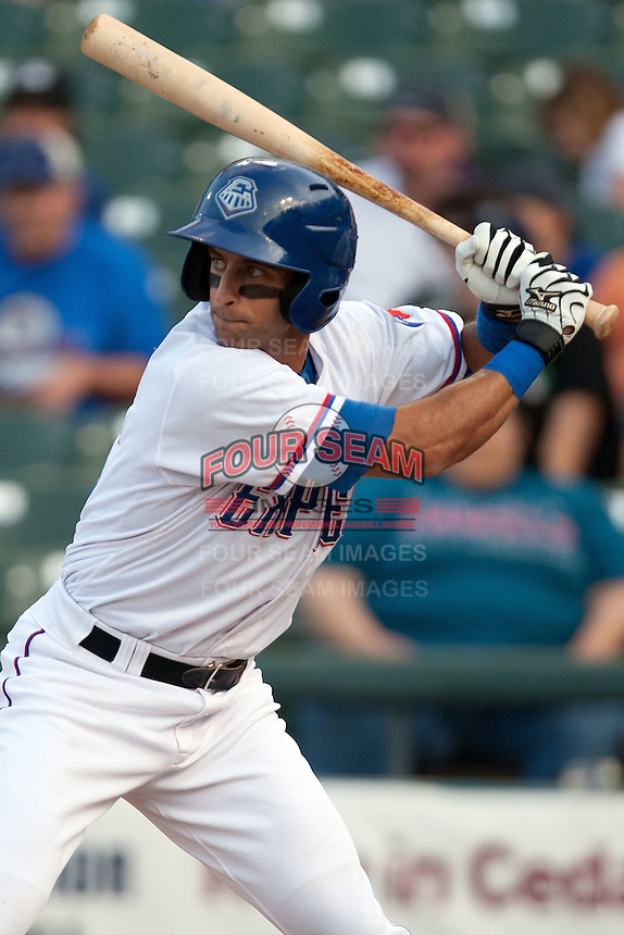 Round Rock Express second baseman Matt Kata #15 at bat during the Pacific Coast League baseball game against the New Orleans Zephyrs on April 30, 2012 at The Dell Diamond in Round Rock, Texas. The Zephyrs defeated the Express 5-3. (Andrew Woolley / Four Seam Images)