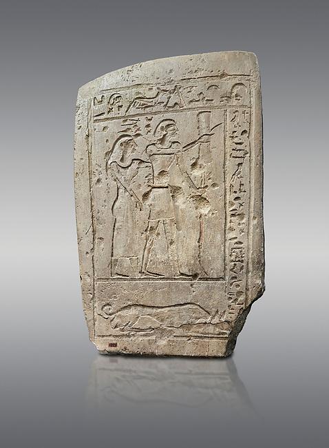 Ancient Egyptian stele of a bowman and his wife, limestone, First Intermediate Period, 7-11th Dynasty, (2118-1980 BC), Deir el-Medina, Schiaparelli cat 1273. Egyptian Museum, Turin. Grey Background