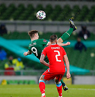 27th March 2021; Aviva Stadium, Dublin, Leinster, Ireland; 2022 World Cup Qualifier, Ireland versus Luxembourg; James Collins of Ireland takes a shot on goal with a bicycle kick