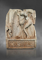 Roman Sebasteion relief  sculpture of Leda and swan, Aphrodisias Museum, Aphrodisias, Turkey.  Against a grey background.<br /> <br /> Zeus disguised as a swan assaults Spartan princess Leda. The bird stands on the tips of its outspread wings and presses its webbed foot on the thigh of modest, struggling Leda. The swan is supported from behind a small Eros. From this encounter came a large egg from which were born Helen and the Dionskouroi twins, Kastor and Polydeukes