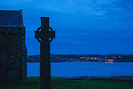 Hebrides, Iona island. The Abbey. At right St Martin Cross.