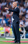 Manager Zinedine Zidane of Real Madrid reacts during their La Liga 2017-18 match between Real Madrid and Valencia CF at the Estadio Santiago Bernabeu on 27 August 2017 in Madrid, Spain. Photo by Diego Gonzalez / Power Sport Images