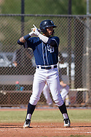 San Diego Padres shortstop Gabriel Arias (65) at bat during an Instructional League game against the Milwaukee Brewers on September 27, 2017 at Peoria Sports Complex in Peoria, Arizona. (Zachary Lucy/Four Seam Images)