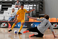 Rahan Ali of Southern and Liam Outtrim of Central during the Men's Futsal SuperLeague, Central Futsal v Southern United Futsal at ASB Sports Centre, Wellington on Saturday 31 October 2020.<br /> Copyright photo: Masanori Udagawa /  www.photosport.nz