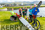 Kieran O'Callaghan launches his adventurous fundraiser for the Kerry Hospice in Blennerville on Monday. Kieran has a cycling challenge, a swim and a road race as well as kayaking from Inch to Dingle to complete as his fundraiser for the Kerry Hospice. <br /> Front l to r: Andrea O'Donoghue and Kieran O'Callaghan.<br /> Back l to r: Maura Sullivan, Milly and Mark O'Brien with Ali Lynch