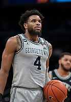 WASHINGTON, DC - FEBRUARY 19: Jagan Mosely #4 of Georgetown ready for a free throw during a game between Providence and Georgetown at Capital One Arena on February 19, 2020 in Washington, DC.