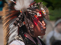 A young boy waiting to dance at the Julymish Pow Wow, Idaho.