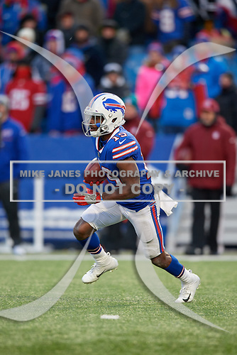 Buffalo Bills Isaiah McKenzie (19) returns a kick during an NFL football game against the New York Jets, Sunday, December 9, 2018, in Orchard Park, N.Y.  (Mike Janes Photography)