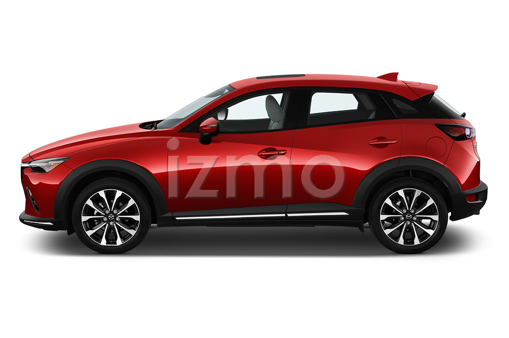 Car Driver side profile view of a 2019 Mazda CX-3 Grand-Touring 5 Door SUV Side View