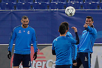 Real Madrid's forward Cristiano Ronaldo, right, jokes with his teammates during a practice session ahead of the Champions League round of 16 first leg football match against Roma, at Rome's Olympic stadium, 16 February 2016.<br /> UPDATE IMAGES PRESS/Riccardo De Luca