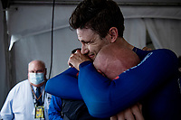 emotions taking over as Filippo Ganna (ITA/Ineos Grenadiers) succesfully defends his TT title<br /> <br /> Men Elite Individual Time Trial <br /> from Knokke-Heist to Bruges (43.3 km)<br /> <br /> UCI Road World Championships - Flanders Belgium 2021<br /> <br /> ©kramon