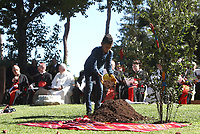 Pope Francis looks as a child pours soil from different parts of the world during a tree-planting ceremony on the occasion of the Feast of St. Francis of Assisi, in the Vatican Garden at the Vatican, on October 4, 2019.<br /> UPDATE IMAGES PRESS/Isabella Bonotto<br /> <br /> STRICTLY ONLY FOR EDITORIAL USE