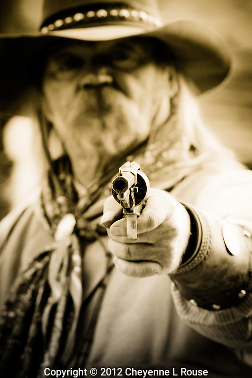 """""""You Talkin' To Me"""" - Arizona <br /> Cowboy at gunfight in Goldfield Ghost Town & Mine in Arizona. (MR)<br /> All rights reserved"""