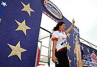 Sept. 5, 2011; Claremont, IN, USA: NHRA funny car driver Melanie Troxel during the US Nationals at Lucas Oil Raceway. Mandatory Credit: Mark J. Rebilas-