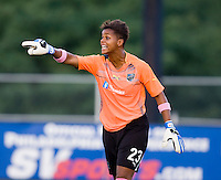 Philadelphia Independence goalkeeper (23) Karina LeBlanc yells to her defense during a game at John A. Farrell Stadium in West Chester, PA.  Boston defeated Philadelphia, 2-1.