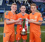 06.05.2019 Falkirk v Rangers reserves: Matty Shiels, Jordan Houston and Andy Dallas