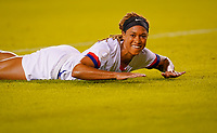 HOUSTON, TX - FEBRUARY 03: Jessica McDonald #14 of the United States looks up and smiles during a game between Costa Rica and USWNT at BBVA Stadium on February 03, 2020 in Houston, Texas.